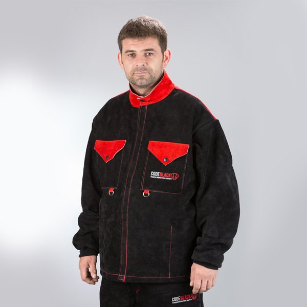 Code Black premium leather welding jacket from Tusker