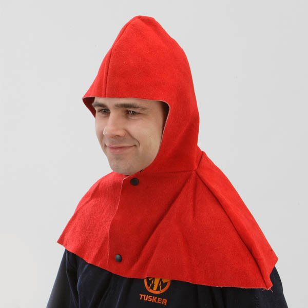 Tusker leather shoulder cape and hood