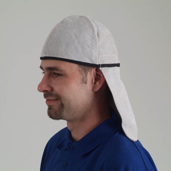 Tusker leather skull cap with back flap